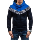 Fashion Camo Patched Colorblock Long Sleeve Mens Fitted Drawstring Hoodie