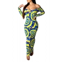 Women's Hot Fashion Off The Shoulder Long Sleeve Tribal Printed Bodycon Maxi Yellow Dress