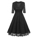Women's Elegant V-Neck Half Sleeve Floral Printed Lace Patch Maxi A-Line Dress