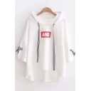AND Letter Striped Bow Tie Patched Long Sleeve Drawstring Asymmetric Hem Hoodie