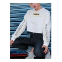 NAIT AND SEE Letter Drawstring Long Sleeve Patched White Cropped Hoodie