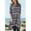 Womens Ethnic Printed Cowl Neck Long Sleeve Asymmetric Hem Sweatshirt