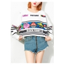 Cartoon Colorblock Plaid Game Printed FUTURE BLACK FUNNY ZZ Letter Round Neck Long Sleeve Sweatshirt