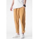 Men's Summer Linen Simple Plain Drawstring Waist Frog Button Gathered Cuff Casual Tapered Pants
