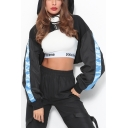 Womens Fashion Colorblock Long Sleeve Buckled Front Hollow Out Cropped Black Hoodie