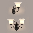 Frosted Glass Flower Shade Wall Light Bedroom 1/2 Lights American Rustic Sconce Lamp in Black
