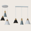 Nordic Style Cone Pendant Lamp 3 Lights Wood Ceiling Lighting with Linear/Round Canopy for Kitchen