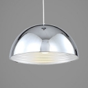 Metal Dome Pendant Lamp 1 Light Antique Style Hanging Light in Chrome for Dining Room