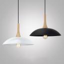 Vintage Style Dome Suspension Light 1 Light Wood Hanging Lamp in Black/White for Factory Workshop