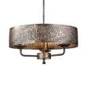 Antique Style Ceiling Lighting Round Shade 3 Lights Metal Chandelier for Restaurant Hotel