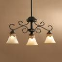 Vintage Beige Island Pendant Bell Shade 3 Lights Frosted Glass Ceiling Light for Living Room