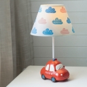 Resin Police Car Desk Light Girl Bedroom 1 Light Cute Eye-Caring Reading Light in Red
