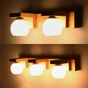 Waterproof Glass Globe LED Wall Light Bedroom Mirror 2/3 Heads Contemporary Vanity Light in Beige