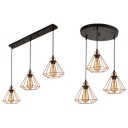 Metal Wire Frame Hanging Lamp Restaurant 3 Lights Antique Style Pendant Light with Linear/Round Canopy