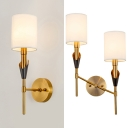 1/2 Lights Cylinder Shade Wall Sconce Modern Style Metal Sconce Light in Brass for Study Room