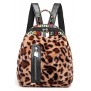 Stylish Letter Leopard Pattern Vertical Zipper Patched Backpack for Girls 30*23*16 CM