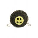 Lovely Smiley Face Pattern Plush Round Crossbody Sling Bag 17.5*7*17.5 CM