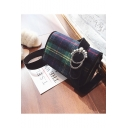 New Fashion Plaid Pattern Hairy Shoulder Crossbody Bag for Women