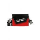 TONPTEOPO Letter Print Colorblock PU Leather Crossbody Bag 14*20*6 CM