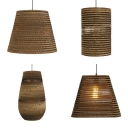 Paper Shade Pendant Light Single Style Asian Style Suspension Light in Beige for Cottage Cafe