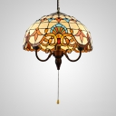 Bowl Shade Ceiling Light with Pull Chain 3 Lights Tiffany Victorian Stained Glass Hanging Light for Foyer