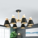 Bucket Study Room Chandelier with Bird Wood 3/6/8 Lights Nordic Style Pendant Lamp in Black/White