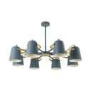 8 Lights Bell Chandelier Macaron Loft Metal Rotatable Pendant Light in Blue/Pink for Living Room