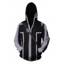 New Trendy Long Sleeve Comic Cosplay Costume Zip Front Sport Loose Black Hoodie