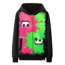Cool Red and Green Splash Ink Comic Cartoon Eyes Print Black Zip Up Hoodie