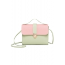Popular Color Block PU Leather Crossbody Satchel Bag With Long Strap 18*4*14 CM