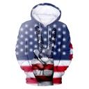 Independence Day Cool Star Stripe Flag Finger Print Long Sleeve Sport Loose Unisex Hoodie