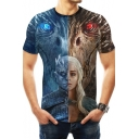 New Stylish Cool Two-Tone Colorblocked 3D Figure Dragon Printed Short Sleeve T-Shirt