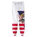 Independence Day Flag Eagle Pattern Drawstring Waist Unisex White Sport Sweatpants Jogger Pants