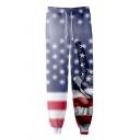 Independence Day Cool Star Stripe Flag Finger Pattern Drawstring Waist Cotton Loose Unisex Sweatpants Jogger Pants