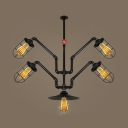 Wire Frame Cafe Hanging Light with Water Pipe Metal 5 Light Industrial Chandelier in Black