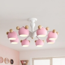 Metal Sphere Hanging Light 3/6/8 Lights Nordic Style Chandelier in Blue/Pink/White for Nursing Room