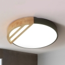Contemporary Black/Pink Ceiling Mount Light Round Shade Wood LED Ceiling Lamp in Warm/White for Bedroom