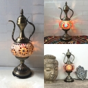 Metal Flagon Desk Light Single Light Moroccan Vintage Table Lamp in Heritage Brass for Bar