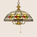 Brass Umbrella Pendant Light 4/6 Lights Tiffany Style Glass Ceiling Pendant for Restaurant