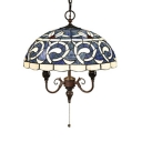 Antique Style Umbrella Hanging Light Stained Glass 16 Inch Blue Ceiling Pendant for Living Room