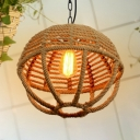 Antique Style Sphere Hanging Light Single Light Rope Pendant Light in Beige for Balcony