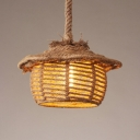 Rustic Style Basket Suspension Light Manila Rope 1 Light Beige Hanging Lamp for Cloth Shop