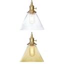 Amber/Clear Funnel Pendant Lamp 1 Light Industrial Glass Ceiling Pendant for Dining Room