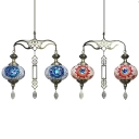 Moroccan Turkish Lantern Pendant Light Glass 2 Lights Blue/Red Chandelier for Living Room