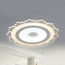 Creative Floral LED Flush Mount Light Acrylic 2 Modes Choice Ceiling Fixture in Warm & White for Nursing Room