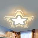 Acrylic Moon Star/Star Ceiling Mount Light Modern LED Flush Light in Warm/White for Study Room