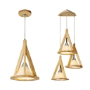 Beige Triangle Hanging Light 1/3 Lights Modern Style Wood Ceiling Light for Dining Room