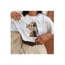 Summer Funny Figure Pattern Basic Round Neck Relaxed Casual Tee
