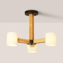 Cylinder Shade Chandelier with Black/White Canopy Asian Style Opal Glass Suspension Light for Restaurant