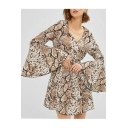 Popular Snakeskin Pattern V-Neck Bell Long Sleeve Mini Coffee A-Line Dress